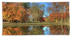 Beach Towel featuring the photograph Lykens Glen Reflections by Lori Deiter