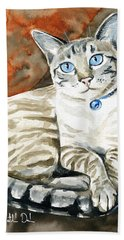 Lynx Point Siamese Cat Painting Beach Towel