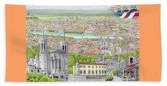 Beach Towel featuring the painting Lyon France by Albert Puskaric