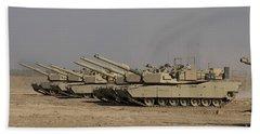 M1 Abrams Tanks At Camp Warhorse Beach Towel