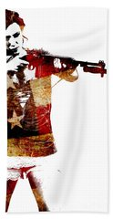 M1 Carbine And Bayonet Beach Towel by David Bazabal Studios