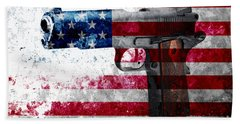 M1911 Colt 45 And American Flag On Distressed Metal Sheet Beach Sheet