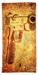 M1911 Muzzle On Rusted Background 3/4 View Beach Towel