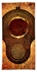 M1911 Muzzle On Rusted Background Beach Towel by M L C