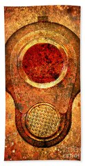 M1911 Muzzle On Rusted Background - With Red Filter Beach Towel