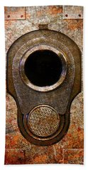 M1911 Muzzle On Rusted Riveted Metal Beach Towel