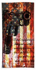 M1911 Pistol And Second Amendment On Rusted American Flag Beach Towel