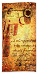 M1911 Pistol And Second Amendment On Rusted Overlay Beach Towel