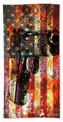 M1911 Silhouette On Rusted American Flag Beach Towel by M L C