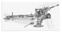 Beach Towel featuring the drawing M198 Howitzer - Standard Size Prints by Betsy Hackett