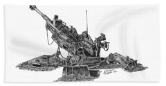 Beach Towel featuring the drawing M777a1 Howitzer by Betsy Hackett