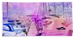 Marina In The Morning Glow Beach Sheet