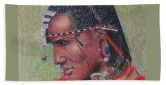 Maasai Warrior II -- Portrait Of African Tribal Man Beach Sheet