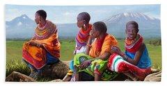 Maasai Women Beach Sheet by Anthony Mwangi
