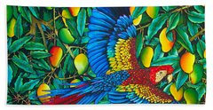 Macaw In Mango Tree - Exotic  Bird Beach Towel