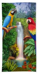 Macaw Tropical Parrots Beach Sheet by Glenn Holbrook