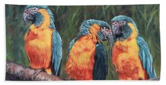 Beach Sheet featuring the painting Macaws by David Stribbling