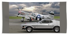 Mach 1 Mustang With P51  Beach Towel
