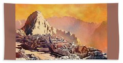 Beach Sheet featuring the painting Machu Picchu Sunset by Ryan Fox