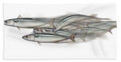 Mackerel School Of Fish - Scomber - Nautical Art - Seafood Art - Marine Art -game Fish Beach Towel