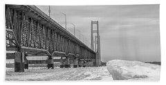 Beach Towel featuring the photograph Mackinac Bridge Icy Black And White  by John McGraw