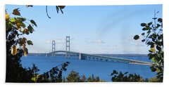Mackinac Bridge In Early Fall Beach Towel