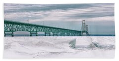 Beach Towel featuring the photograph Mackinac Bridge In Winter During Day by John McGraw