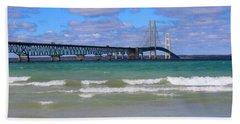 Mackinac Bridge Beach Towel by Michael Rucker