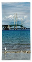 Beach Towel featuring the photograph Mackinac Bridge With Seagull by LeeAnn McLaneGoetz McLaneGoetzStudioLLCcom