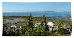 Beach Sheet featuring the photograph Mackinac Island View Of Bridge by LeeAnn McLaneGoetz McLaneGoetzStudioLLCcom