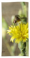 Macro Photography Of A Mosquito Over A Lettuce Flower Beach Towel by Claudia Ellis