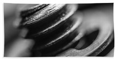 Macro Screw Bolt Black White Beach Sheet by David Haskett