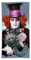 Mad Hatter And Cheshire Cat Beach Towel