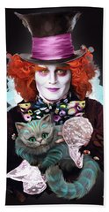 Mad Hatter And Cheshire Cat Beach Sheet by Melanie D