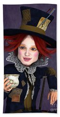 Mad Hatter Portrait Beach Sheet by Methune Hively