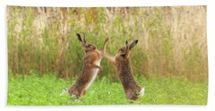 Mad Wild Hares Boxing And Fighting In Norfolk Uk Beach Towel