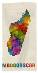 Beach Towel featuring the digital art Madagascar Watercolor Map by Michael Tompsett