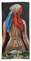 Madame Eiffel Beach Towel by Jorge L Martinez Camilleri