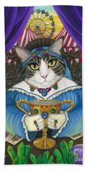 Beach Towel featuring the painting Madame Zoe Teller Of Fortunes - Queen Of Cups by Carrie Hawks