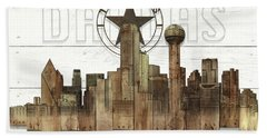 Made-to-order Dallas Texas Skyline Wall Art Beach Towel