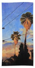 Beach Towel featuring the painting Madison Ave Sunset by Andrew Danielsen