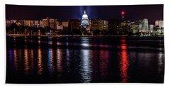 Madison Skyline At Night Beach Towel by Randy Scherkenbach