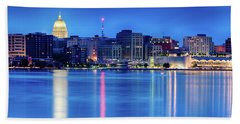Madison Skyline Reflection Beach Towel