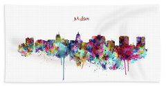 Beach Towel featuring the mixed media Madison Skyline Silhouette by Marian Voicu