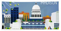 Madison Wisconsin Horizontal Skyline Beach Towel