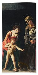 Madonna And Child With A Serpent Beach Towel