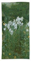 Madonna Lilies In A Garden Beach Towel by Walter Crane