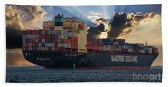 Maersk Sealand Leaving Charleston South Carolina Beach Sheet