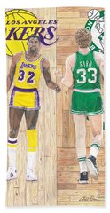 Magic Johnson And Larry Bird Beach Towel by Chris Brown