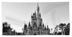 Magic Kingdom Castle In Black And White Mp Beach Towel